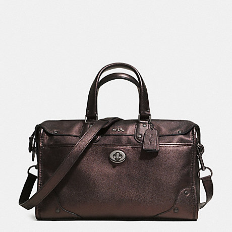 COACH f33739 RHYDER SATCHEL IN METALLIC TWO TONE LEATHER  QBBRZ