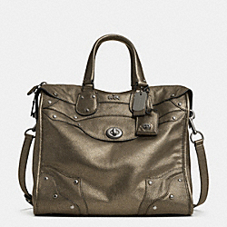 COACH RHYDER 33 SATCHEL IN METALLIC LEATHER - QBBRS - F33740