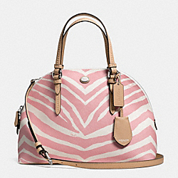 COACH PEYTON ZEBRA PRINT CORA DOMED SATCHEL - SILVER/PINK TULLE - F33766