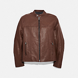 LEATHER RACER JACKET - DARK FAWN - COACH F33779