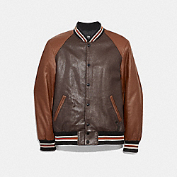 COACH LEATHER VARSITY JACKET - MAHOGANY/DARK FAWN - F33784
