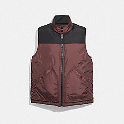 COACH REVERSIBLE DOWN VEST - Black Burgundy - F33788