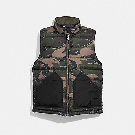 COACH REVERSIBLE DOWN VEST - GREEN CAMO OLIVE - F33788