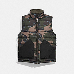 REVERSIBLE DOWN VEST - GREEN CAMO OLIVE - COACH F33788