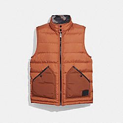 COACH REVERSIBLE DOWN VEST - Rust Grey Camo - F33788