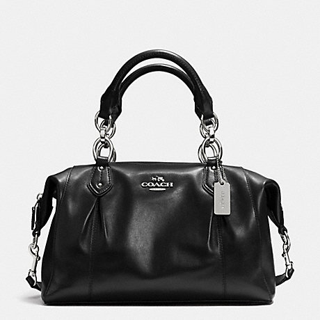 COACH f33806 COLETTE LEATHER SATCHEL SILVER/BLACK