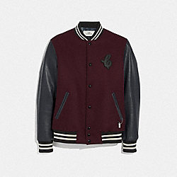 LEATHER AND WOOL VARSITY JACKET - BURGUNDY/NAVY - COACH F33820
