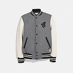 COACH LEATHER AND WOOL VARSITY JACKET - HEATHER GREY - F33820