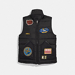 COACH DOWN VEST WITH PATCHES - BLACK - F33821