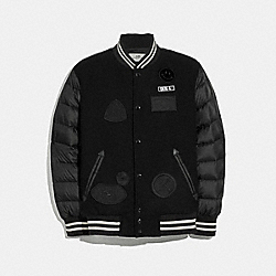 DOWN VARSITY JACKET WITH PATCHES - BLACK - COACH F33824