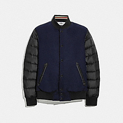 WOOL AND NYLON DOWN VARSITY JACKET - NAVY BLACK - COACH F33829