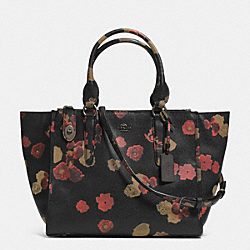 COACH CROSBY CARRYALL IN FLORAL PRINT LEATHER - BN/BLACK MULTI - F33855