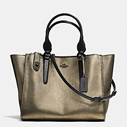 COACH CROSBY CARRYALL IN METALLIC LEATHER - VA/BRASS - F33859