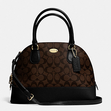 COACH CORA DOMED SATCHEL IN SIGNATURE COATED CANVAS -  LIGHT GOLD/BROWN/BLACK - f33904