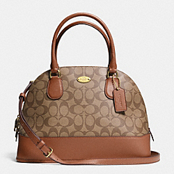 COACH CORA DOMED SATCHEL IN SIGNATURE COATED CANVAS - LIGHT GOLD/KHAKI/SADDLE - F33904