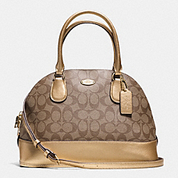 COACH CORA DOMED SATCHEL IN SIGNATURE - IMITATION GOLD/KHAKI/GOLD - F33904