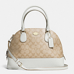 COACH CORA DOMED SATCHEL IN SIGNATURE CANVAS - LIGHT GOLD/LIGHT KHAKI/CHALK - F33904