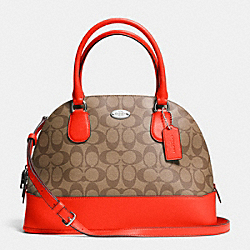 COACH CORA DOMED SATCHEL IN SIGNATURE - SILVER/KHAKI/ORANGE - F33904