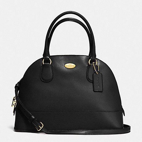 COACH CORA DOMED SATCHEL IN CROSSGRAIN LEATHER -  LIGHT GOLD/BLACK - f33909