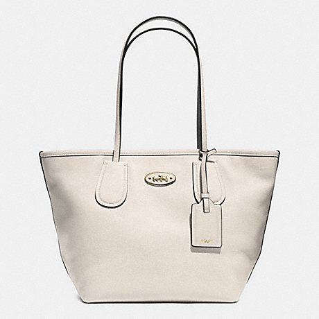 COACH COACH TAXI ZIP TOP TOTE IN LEATHER -  LIGHT GOLD/CHALK - f33915