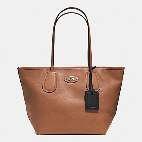 COACH COACH TAXI ZIP TOP TOTE IN LEATHER -  SILVER/SADDLE - f33915