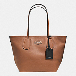 COACH TAXI ZIP TOP TOTE IN LEATHER - SILVER/SADDLE - COACH F33915