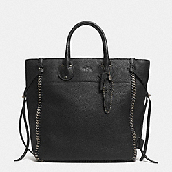 COACH TATUM TALL TOTE IN WHIPLASH LEATHER - BNBLK - F33916