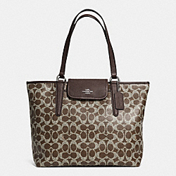 COACH WARD TOTE IN SIGNATURE COATED CANVAS - SILVER/BROWN/BROWN - F33960