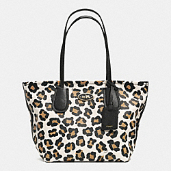 COACH COACH TAXI ZIP TOP TOTE IN OCELOT PRINT LEATHER - LIGHT GOLD/WHITE MULTICOLOR - F33969