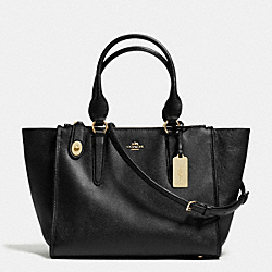 COACH CROSBY CARRYALL IN CROSSGRAIN LEATHER - LIGHT GOLD/BLACK - F33995
