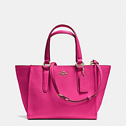 COACH CROSBY MINI CARRYALL IN CROSSGRAIN LEATHER - LIGHT GOLD/PINK RUBY - F33996