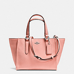 COACH CROSBY MINI CARRYALL IN CROSSGRAIN LEATHER - SILVER/PINK - F33996