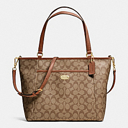 COACH POCKET TOTE IN SIGNATURE - IMITATION GOLD/KHAKI/SADDLE - F33998