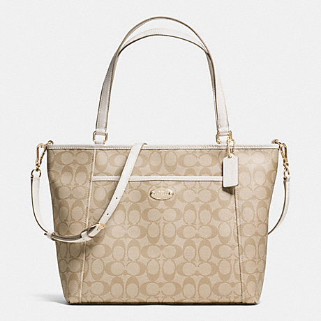 COACH POCKET TOTE IN SIGNATURE - IMITATION GOLD/LIGHT KHAKI/CHALK - f33998