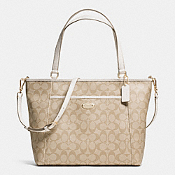 POCKET TOTE IN SIGNATURE - f33998 - IMITATION GOLD/LIGHT KHAKI/CHALK
