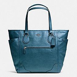 COACH MICKIE TOTE IN GRAIN LEATHER - ANTIQUE NICKEL/METALLIC BLUE - F34039