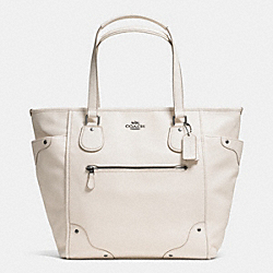 COACH MICKIE TOTE IN GRAIN LEATHER - ANTIQUE NICKEL/CHALK - F34039