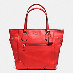 COACH MICKIE TOTE IN GRAIN LEATHER - ANTIQUE NICKEL/CARDINAL - F34039