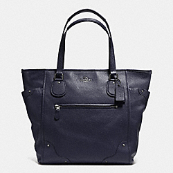 COACH MICKIE TOTE IN GRAIN LEATHER - ANTIQUE NICKEL/MIDNIGHT - F34039