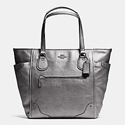 COACH MICKIE TOTE IN GRAIN LEATHER - ANTIQUE NICKEL/SILVER - F34039