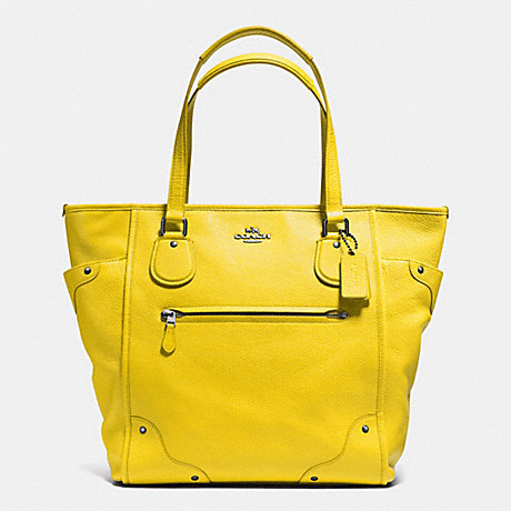 COACH f34039 MICKIE TOTE IN GRAIN LEATHER  QB/YELLOW