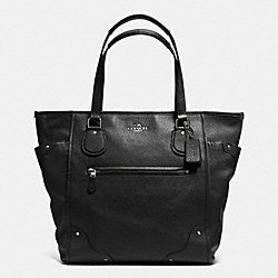 COACH MICKIE TOTE IN GRAIN LEATHER - SILVER/BLACK - F34039