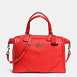COACH MICKIE SATCHEL IN GRAIN LEATHER - ANTIQUE NICKEL/CARDINAL - F34040