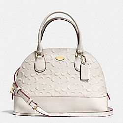CORA DOMED SATCHEL IN DEBOSSED PATENT LEATHER - f34052 -  LIGHT GOLD/CHALK
