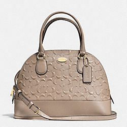 COACH CORA DOMED SATCHEL IN DEBOSSED PATENT LEATHER - LIGHT GOLD/STONE - F34052
