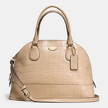 COACH CORA DOMED SATCHEL IN EMBOSSED CROCO LEATHER -  LIGHT GOLD/NUDE - f34053
