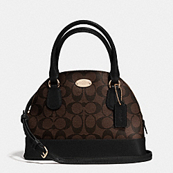 COACH MINI CORA DOMED SATCHEL IN SIGNATURE COATED CANVAS - LIGHT GOLD/BROWN/BLACK - F34083