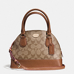 COACH MINI CORA DOMED SATCHEL IN SIGNATURE COATED CANVAS - LIGHT GOLD/KHAKI/SADDLE - F34083