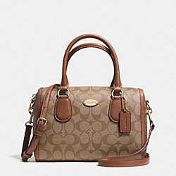 SIGNATURE MINI BENNETT SATCHEL - f34084 - LIGHT GOLD/KHAKI/SADDLE