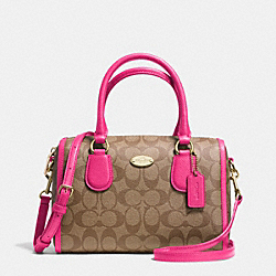 MINI BENNETT SATCHEL IN SIGNATURE CANVAS - LIGHT GOLD/KHAKI/PINK RUBY - COACH F34084